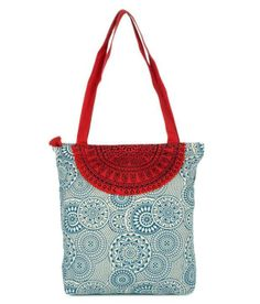 Blue tote bag Buy From Here: http://www.artncraftemporio.com/blue-and-red-tote-bag.html Blue tote bag with red semi circle design on top. Material : Canvas. With main zipper on top and a zipper pocket   Note:Avail Flat 10% Off on all the products & Additional 10% on Handcrafted Apparels* COD & Free Shipping Available*