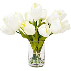 Add natural appeal to your decor with this faux white tulip arrangement, showcasing eye-catching blossoms in a glass cylinder vase with acrylic water.