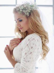 xtenisma nyfhs me peplo Romantic wedding hairstyle with hair down