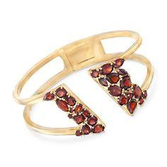 Multi-shaped garnets shine like Marsala wine on this garnet open cuff bracelet in 18kt gold over sterling silver! Item no. 861064