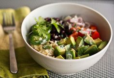 brown rice bowl with creamy lime cilantro dressing