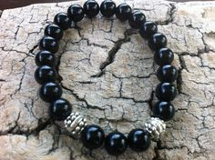 Black Czech Bead Stretch Bracelet Antique Silver by MiaCocoDesigns, $12.00