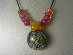 Boro Lampwork Glass Necklace RF01 by danielsbeads on Etsy