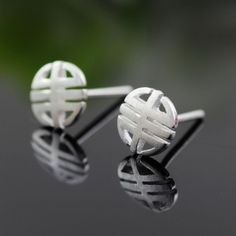 Brushed Sterling Silver Cutout Button Stud Earrings Wholesale China