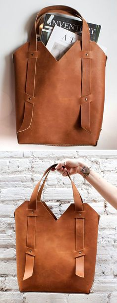 Handmade leather tote #product_design