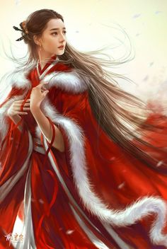 Asian woman in red shawl
