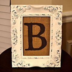 diy framed burlap monogram, home decor, shabby chic, Framed Burlap Monogram