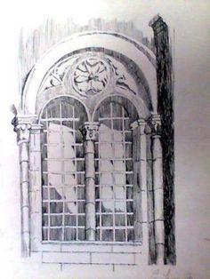 Técnica utilizada, bico de pena(nanquim) sobre papel canson, tema, portal.