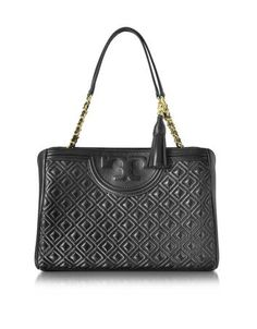 83e3f5083fb1 Tory Burch Fleming Black Quilted Leather Open Shoulder Bag