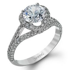 Unique White Gold Split Shank Halo Engagement Ring from Simon G @ Wedding Day Diamonds #SimonG #jewelry #engagementring