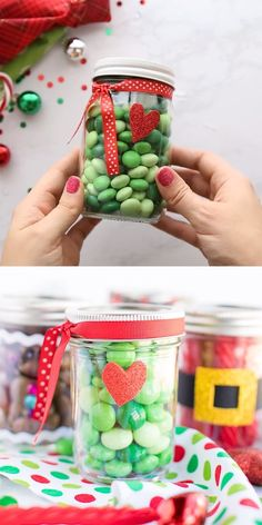 Christmas Mason Jar Gifts: these candy filled festive mason jars are perfect for the holidays! Make these four Christmas themed jars for family and friends to enjoy. Christmas Gift Videos, Mason Jar Christmas Gifts, Diy Xmas Gifts, Diy Gifts For Friends, Christmas Snacks, Christmas Goodies, Homemade Christmas, Christmas Themes, Christmas Diy