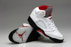 Air Jordan Shoes Air Jordan 5 White Black Fire Red Shoes [Air Jordan 5 - 2014 new arrival on our site. The Air Jordan 5 White Black Fire Red here features a white leather build plus black midsole. Red is visible on branding elements like the signat Jordan Shoes For Sale, Jordan Shoes Online, Cheap Jordan Shoes, Michael Jordan Shoes, Air Jordan Shoes, Cheap Puma Shoes, White Nike Shoes, Red Shoes, Men's Shoes