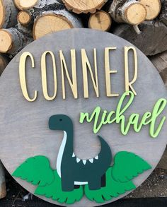 16 Dino Sign Name Sign Wood Cutout Dinosaur Decor Nursery Name, Nursery Signs, Nursery Decor, Crate And Barrel, Wood Stain Colors, Baby Name Signs, Baby Names, Dinosaur Nursery, Wood Cutouts