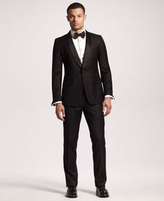 ac92f522ca00 Shawl-Collar Tuxedo Jacket   Bib-Detail Tuxedo Shirt by Yves Saint Laurent  at