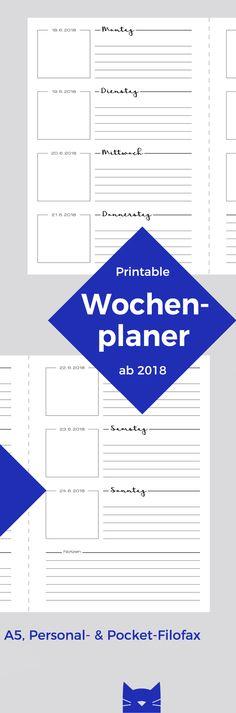 Druckvorlage: Wochenplaner WIESE   Kalendereinlage für den Filofax in Personal, Pocket oder A5   Wer nicht drucken möchte, kann sie auch fertig bestellen