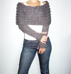 PDF Knitting Pattern - Wrap Around Thumb Holes Shrug/ Modern Chunky Shouders Coverup/Convertible Chunky Scarf