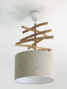 Lustre suspension plafonnier Lin abat jour cylindrique rond 28cm