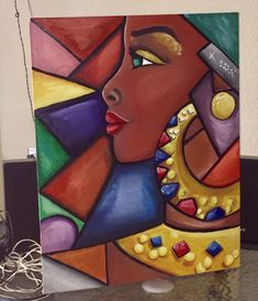 Canvas Painting Tutorials, Diy Canvas Art, Tableau Pop Art, Abstract Face Art, African Art Paintings, Black Art Painting, Cubism Art, Picasso Art, Africa Art