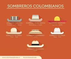 Sombreros colombianos.  Tomado de Facebook, página: Colombia explicada. (Educación)
