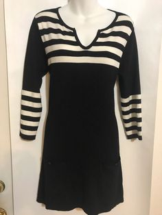 1bb4a0bdd797f3 Joseph A Size M Sweater Dress Tunic Stripe with Pockets Rayon Blend NWT   68.00