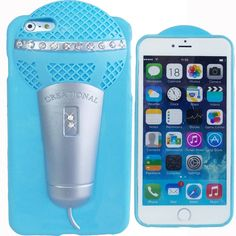 Cute 3D Powder Blue Microphone Bling Case for Apple iPhone 6 / 6S Silicone Cover #UnbrandedGeneric