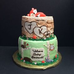 Baby woodland creatures shower cake