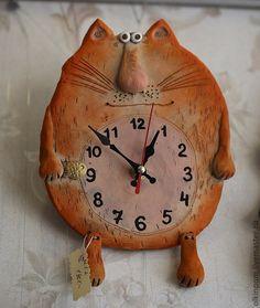 Часы для дома ручной работы. Ярмарка Мастеров - ручная работа Часики - Рыжий Кот. Handmade.