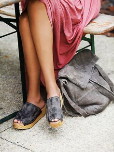 Free People Mare Slip On Clog at Free People Clothing Boutique - Spanish crafted flatform slides with distressed washed leather uppers and comfortable padded insoles. Funky Shoes, Crazy Shoes, Me Too Shoes, Fall Shoes, Summer Shoes, Summer Wear, Wooden Sandals, Vogue, Walk This Way