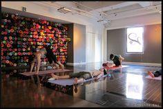 Yoga Mat storage- LOVE the mat wall