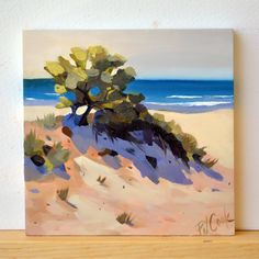 "Ocean View Sand Dune Oil painting auction going on now! Bid on this original ocean waves and sand dunes oil painting. The best part is I am offering free shipping on this sale. So check it out! This ""Ocean View Sand Dune"" is a new painting on raised wood panel and is in a 4 inch square format. I like painting these beach paths to the ocean in the square format for some reason. It just seems to fit well into the composition. No frame is needed, ready to hang."