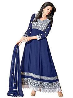 Blue Anarkali Georgette Semi Stitched Salwar Suit  Riti Riwaz - Ar11007