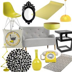Yellow is THE colour of the moment - tone it down with black, grey and neutral shades to create a smart yet funky look