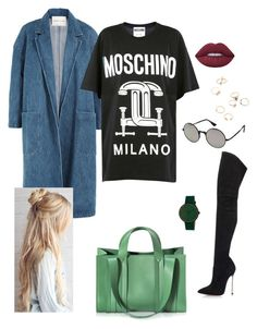 """""""4'"""" by illyriangurl ❤ liked on Polyvore featuring Sandy Liang, Lime Crime, Moschino, Casadei, Corto Moltedo, Simplify and Le Specs"""