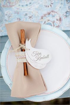 place card inspiration Love this place setting. Having a cinnamon stick as a favor for when later you can have hot chocolate Great for fall or winter weddings