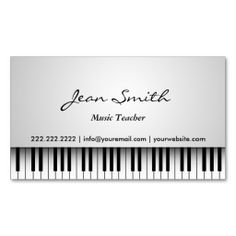 Classy White Piano Music Teacher Business Card