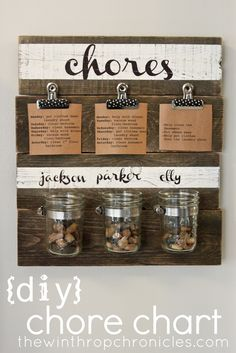diy chore chart. For each chore completed, kid gets to put a pebble in the jar. If they disobey, a pebble is taken out. When the jar is full, the child gets to choose a prize, like going out for ice cream. I love how the reward isn't money and also, not for every chore done!