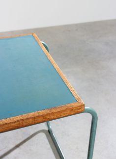 Industrial Tubular Steel and Linoleum Desk Bauhaus img 7 Handmade Furniture, Wooden Furniture, Furniture Design, Industrial Desk, Tubular Steel, Bauhaus, Steel Frame, Chair Design, Contemporary Furniture