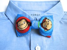 This is a MOST!!!!! Baby/ Toddler/ Boys Bow Tie made with Curious George by PENplusA, $5.95