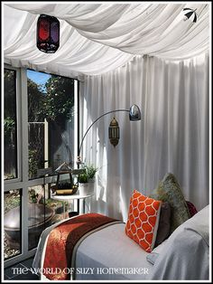 See how I transformed an underused glass box into a Moroccan-style retreat. Conservatory Curtains, Glass Conservatory, Sunroom Windows, Patio Curtains, Moroccan Lanterns, Moroccan Tiles, Moroccan Decor, Moroccan Bedroom, Moroccan Interiors