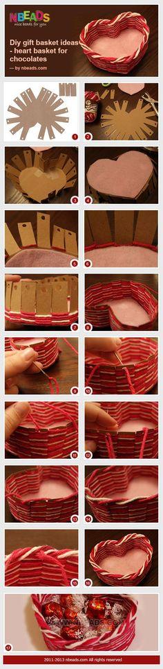 Cestino porta dolci a cuore con cartone e filo..idea regalo