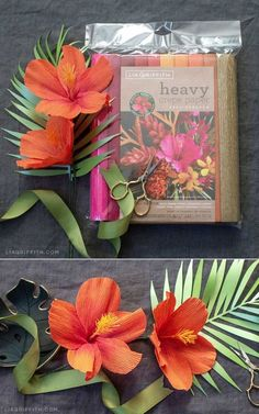 See how simple it is to craft your own heavy crepe paper hibiscus flowers in vibrant colors with our starter pattern and video tutorial. Paper Flower Patterns, Paper Flower Tutorial, Pattern Paper, How To Make Paper Flowers, Crepe Paper Flowers, Diy Paper, Paper Art, Paper Crafts, Origami
