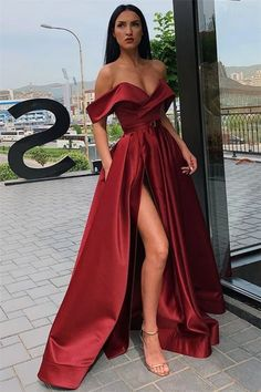 A-Line Off-the-Shoulder High Split Long Prom Dress with Pockets Burgundy Satin Off-the-Shoulder A-Line High Split Long Prom Dress with Pockets. The post A-Line Off-the-Shoulder High Split Long Prom Dress with Pockets appeared first on Welcome! Matric Dance Dresses, Prom Girl Dresses, Pretty Prom Dresses, Prom Outfits, Glam Dresses, Homecoming Dresses, Dress Prom, Elegant Dresses, Dress Outfits