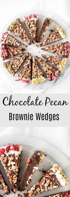 Dark chocolate Brownie topped with toasted pecans. Dipped with extra chocolate and sprinkled with pistachios and strawberries.