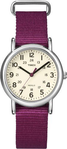 Timex Womens T2N914 Weekender Mid-Size Slip-Thru Berry Nylon Strap Watch - Yes I did just find a watch to match my stethoscope.