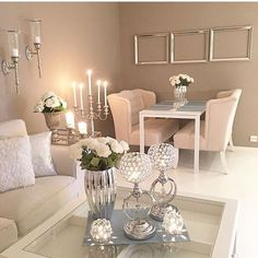 Image result for silver and white small dining room