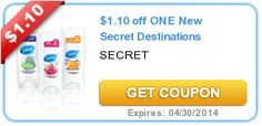 $1.10 off ONE New Secret Destinations. Coupon savings for your next vacation fund!