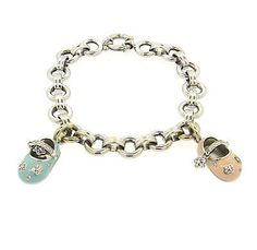 Aaron Basha 18k White Gold Baby Shoe Charm Diamond Bracelet - http://designerjewelrygalleria.com/aaron-basha/aaron-basha-18k-white-gold-baby-shoe-charm-diamond-bracelet/
