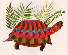 Hey there, Mr. Turtle! From French Zoo Animals for Children by My Vintage Book Collection.