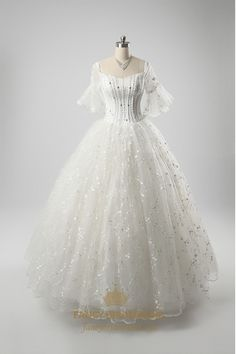 White Wedding Dresses,Off The Shoulder Wedding Dress With Lace Sleeves