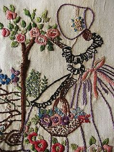 Only The Best Embroidery Designs Silk Ribbon Embroidery, Hand Embroidery Patterns, Vintage Embroidery, Vintage Crochet, Embroidery Designs, Wool Applique, Embroidery Applique, Cross Stitch Embroidery, Machine Embroidery